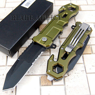 """8"""" Green Tactical Combat Spring Assisted Open Pocket Rescue Knife YC10117GN-W"""
