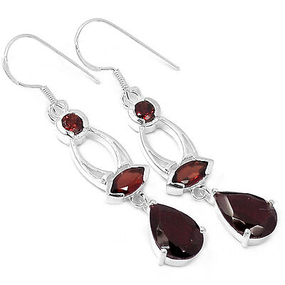 Garnet 925 Sterling Silver Earrings Jewelry E2188G