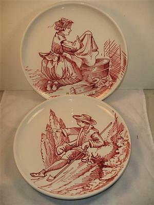 MADE IN ITALY HANDCRAFTED PAIR POTTERY PLATES MAN AND WOMAN MADE FOR ETHAN ALLEN