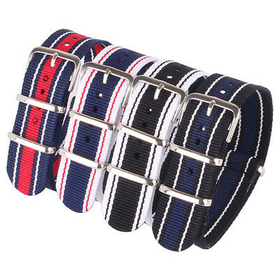 New Military Stripe Cambo 20mm Nylon Watches Strap Wristwatch WATCHBand Buckle