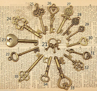 New 15pcs Mixed Random Antique Vintage Old Look Skeleton Key Lot Crown Bow Charm