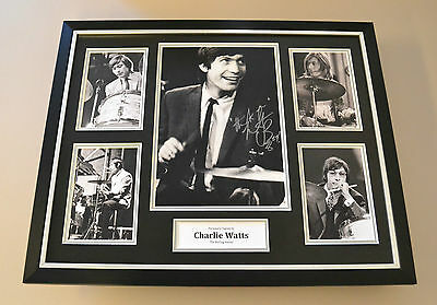 Charlie Watts Signed Photo Large Framed Autograph Display Rolling Stones + COA