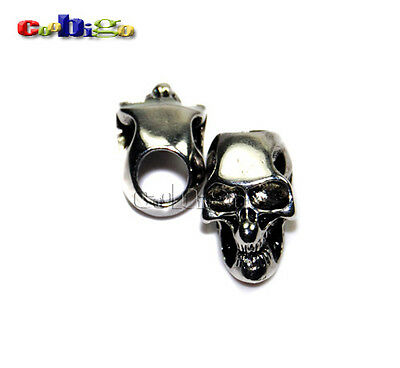 2pcs Single Vertical Hole Charm Metal Skull For Paracord Knife Lanyards