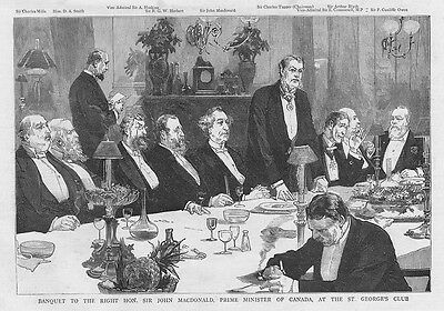 JOHN MacDONALD Prime Minister of Canada at St George's Club - Antique Print 1886