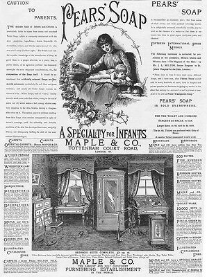 Victorian Adverts; Pears Soap, Maple & Co Furniture - Antique Print 1886