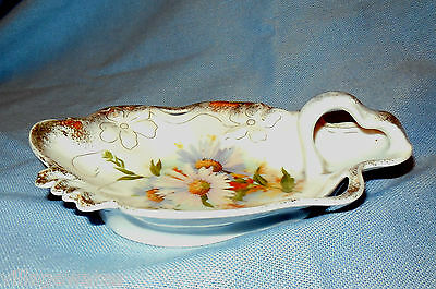 Turn of 1900s Small Handled Floral Calling Card Tray in  Fine German Porcelain