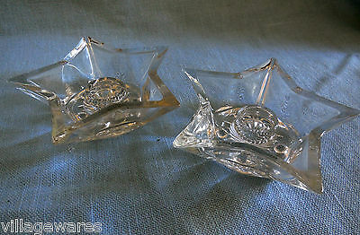 Two 1940's Clear Glass Star Shaped Single Candleholders