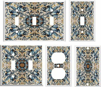 FRENCH BLUE FLORAL MOSAIC TILE IMAGE  LIGHT SWITCH COVER PLATE U PICK PLATE SIZE