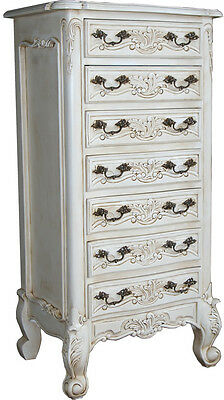 French Antique White Tall Chest of Drawers - New