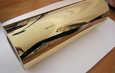 "15"" x 10FT Gold Chrome Mirror Adhesive Backed Die Cutting Sign Vinyl film"
