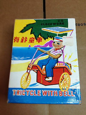 Chinese Wind-Up Tin Toy Tricycle With Bell MS 710