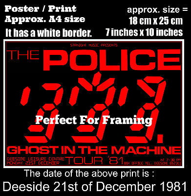 The Police live concert at Deeside 21st of December 1981 A4 size poster print