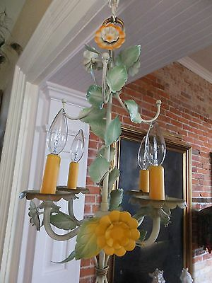 Vintage Chandelier - 4 Lights - 7 Daisys  Italian Tole Toleware Floral -Ceiling