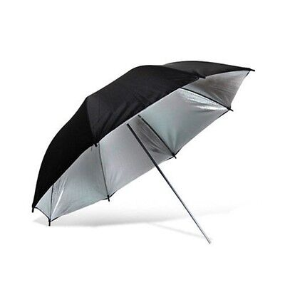 "33"" 84cm Photo Studio Black Silver Reflective Umbrella For Video Lighting Kit"