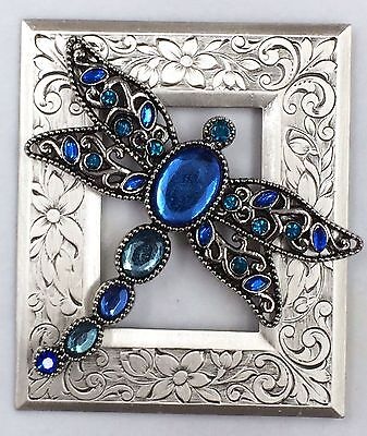 """BEAUTIFUL 2 1/2""""INCH Sterling Overlay~Stamped Brass""""JEWELED DRAGONFLY BUTTON"""""""