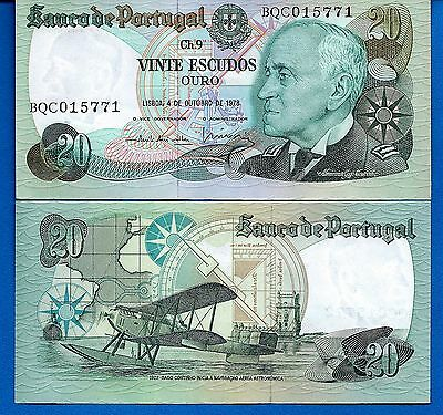Portugal P-176b 20 Escudos Year 1978 Air Plane Uncirculated Free Shipping