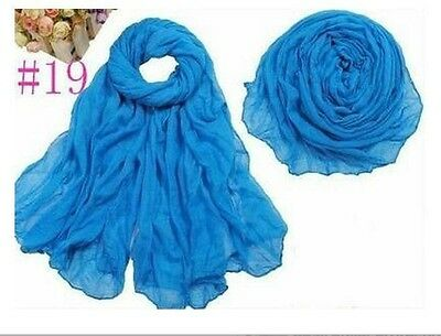 Women Long Big Crinkle Voile Soft Scarf Wrap Shawl Stole Pure Candy Blue
