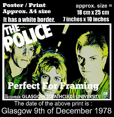 The Police live concert Glasgow University 9 December 1978 A4 size poster print