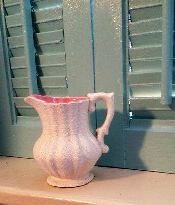 Vintage Ucagco Japan Textured White And Pink Miniature Pitcher/ Creamer