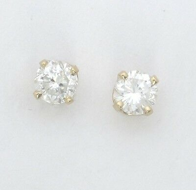 14k Yellow Gold Round Diamond Solitaire Stud Earrings .80ct