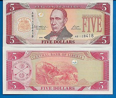 Liberia P-26c Five Dollars Year 2006 Uncirculated FREE SHIPPING