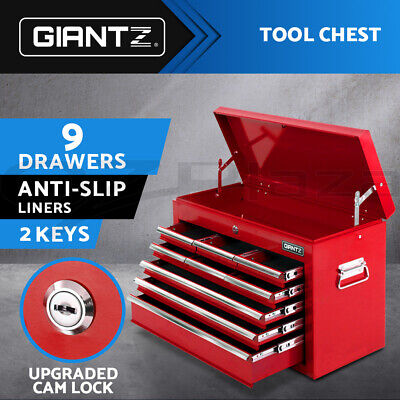Giantz 9 Drawers Mechanic Toolbox Storage Chest Cabinet Trolley Tool Box Storage