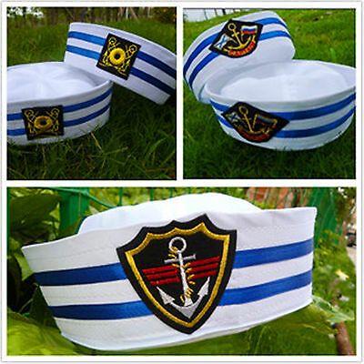 Kid Girl Boy Adult Women white Navy Sailor anchor Captain Costume Party Hat Cap