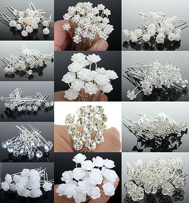 10/20/40 Lot Crystal Diamante Pearl Flower Bridal Wedding Prom Hair Pins Clips