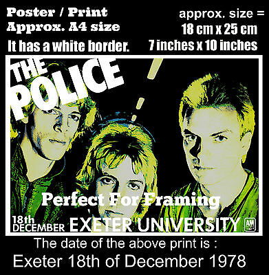The Police live concert Exeter University 18 December 1978 A4 size poster print