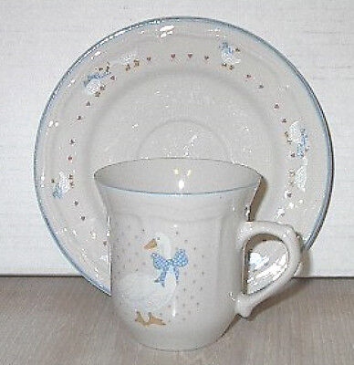"""Cup and Saucer 6"""" Aunt Rhody Cream Tienshan Pottery Goose"""