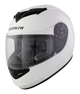 Karting Crash Helmet Adult Full Face Gloss White / Go Kart / Race / Leisure Cart