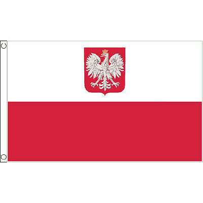 Poland Crest Large Flag 8ft x 5ft Polish State Eagle Banner With 2 Metal Eyelets
