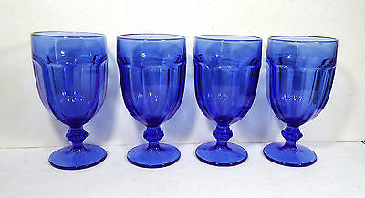 """4 Libbey DURATUFF Gibraltar Blue Glasses Goblets Wine  Ice Tea Water 6.75"""" tall"""