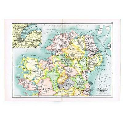 Antique Map 1910 - Ireland (North Section) with Railways depicted by Bartholomew