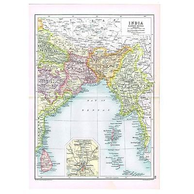 Antique Map 1910 - India (East) - Bengal, Madras, Calcutta by Bartholomew