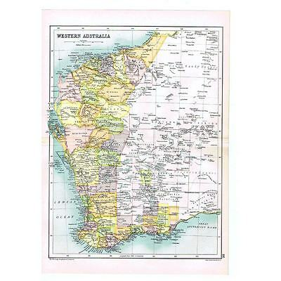 Antique Map 1910 - Western Australia with Counties by Bartholomew