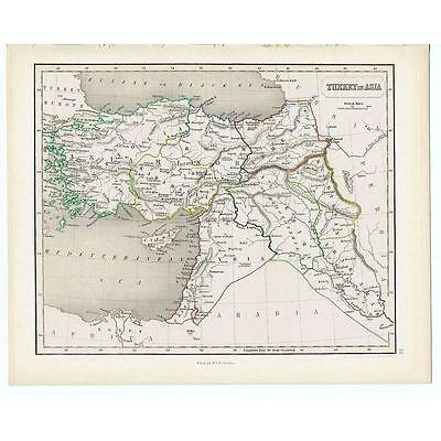 Antique Coloured Map 1846 - TURKEY in ASIA by Gellatly - Chambers Atlas