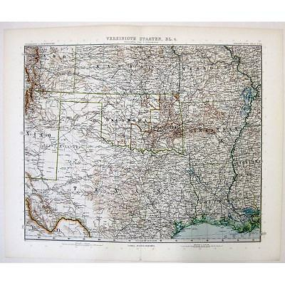 VEREINIGTE STAATEN USA Texas, Indian Territory, Kansas- Antique Stieler Map 1905