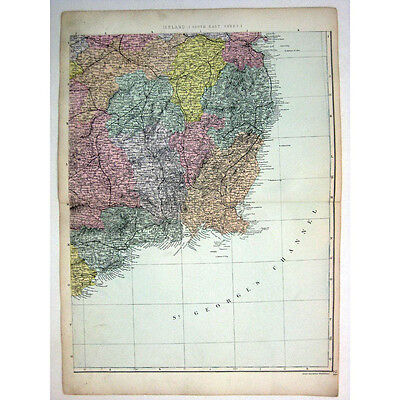 IRELAND (SE) Co Waterford, Wexford, Kilkenny, Wicklow- Antique Map 1880 by Bacon