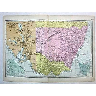 AUSTRALIA New South Wales, Victoria, South Australia - Antique Map 1880 by Bacon