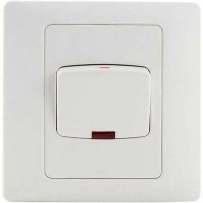 Rocca Electric 45A Double Pole Switch Red Neon Switched White Rubber DP Cooker