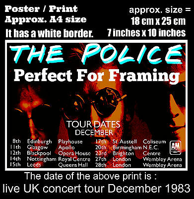 The Police live UK Synchronicity concert tour December 1983 A4 size poster print