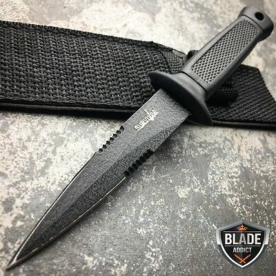 "6.5"" Double Edge Military Tactical Fixed Blade Boot SURVIVAL Knife Dagger BLACK"