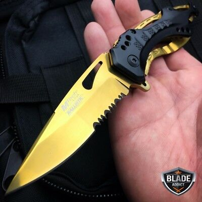 M-Tech Spring Assisted BLACK GOLD FOLDING Blade Tactical Pocket Knife NEW
