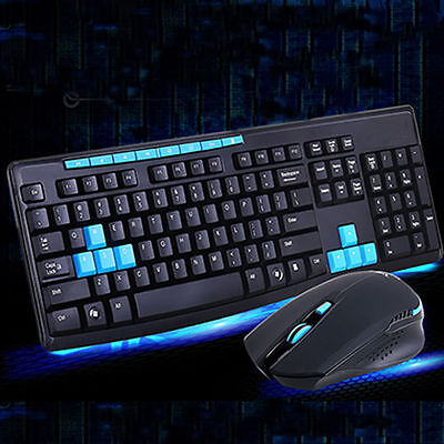 New 2.4G Wireless Gaming Keyboard + Mouse Set Combo for Desktops Laptops PC