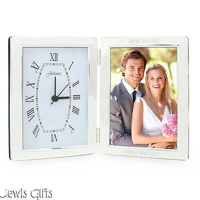 clock picture frame silver personalised wedding gift birthday anniversary gift