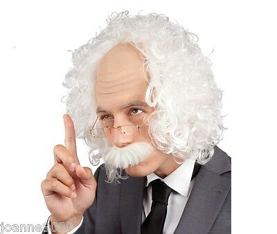 Albert Einstein White Wig Tash and Glasses Scientist Old Man Fancy Dress Costume