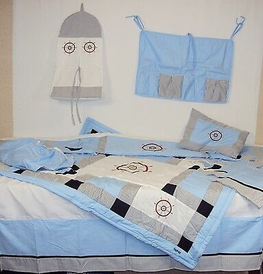 Crib Fidgy Bridgy 9 Piece Nautical Crib Set ~ 100% Cotton Linens & Accessories
