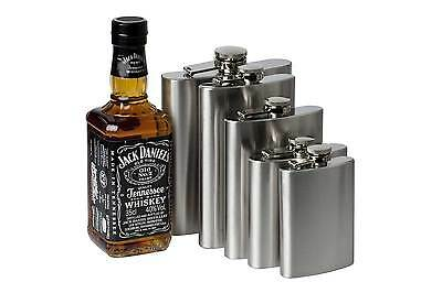 Portable Stainless Steel Liquor Whiskey Alcohol Flask Cap 4  6 8 10 oz + Funnel