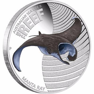 Australia 2012 50c Sea Life II Australian MANTA RAY 1/2 Oz Proof Silver Coin